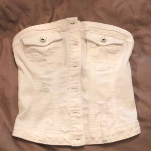 Guess white jean strapless top